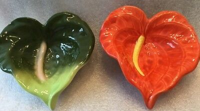 Lot Of Two ~ Nohea Gallery Hand Glazed Ceramic Hawaii Anthurium Bowls