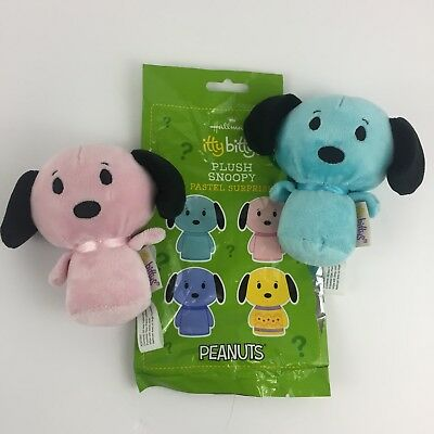 HALLMARK Itty Bitty Bittys Pastel Surprise Snoopy Set of 2  Peanuts, Blue/Pink