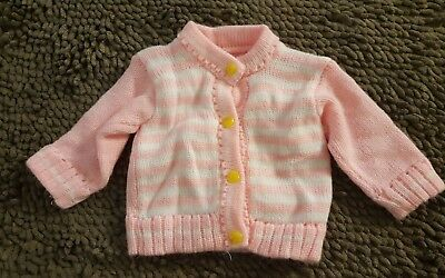 Handmade*Pink Striped Vintage Sweater*Size 0-3mos*EVC