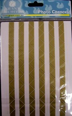 SELF ADHESIVE PHOTO CORNERS - 204 pieces - GOLD - for scrapbooking/cardmaking