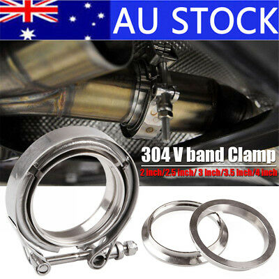 AU! SS304 Stainless Steel V-band Vband Clamp & Flange Exhaust Down Pipe 2-4inch