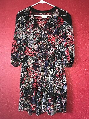 Pins and Needles UO Black Floral Sheer Flare Dress Lace Back Panel SMALL Cute