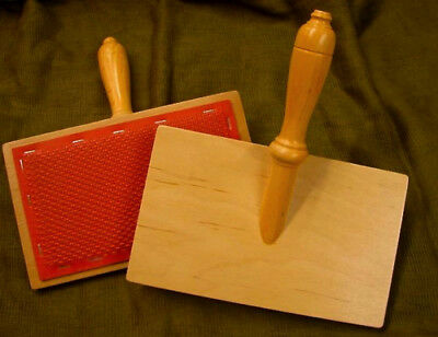 Pair of large WOODEN HAND CARDERS with 72pt Stainless Steel wire for Spinners