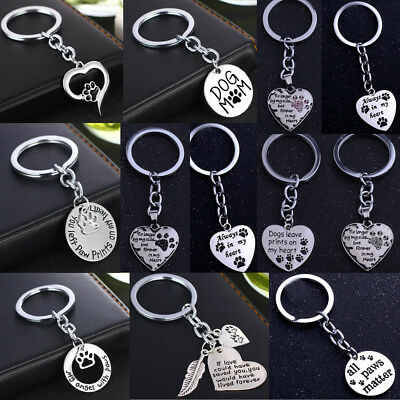 Keyring Paw Prints Cat Dog Pet Memory Loss Present Gift Key Rings Metal Keychain