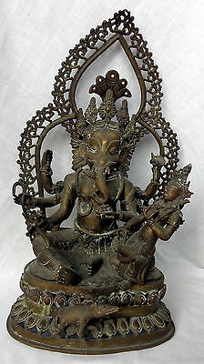 Tibetan or Nepalese Large and old bronze Ganesh figure