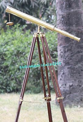 Vintage Single Barrel Brass Telescope With Brown Wooden Tripod Stand