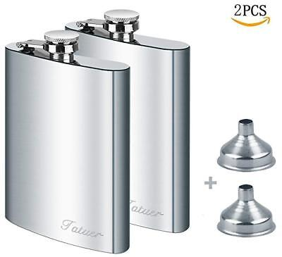 2 8oz Stainless Steel Flask + 2 Funnel Set For Men Whiskey odka Alcohol Climbing
