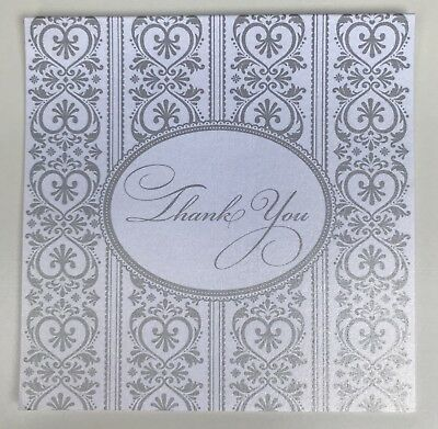 10 x Cristina Re Square Thank You Cards Silver n White Wedding or Anniversary