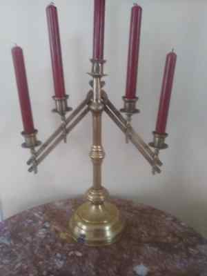 Antique early 1900's  Brass Church Altar Ecclesiastical 5 Candlestick
