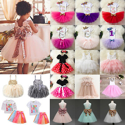 Kids Baby Girls Princess Wedding Birthday Party Pageant Tutu Tulle Skirt Dress