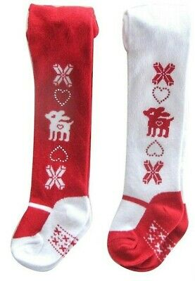 Baby Girl Reindeer Christmas Tights Red & White Twinkle Heart Diamantes 0-6-12m