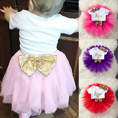3pcs Baby Girls 1st Birthday Party Princess Sequins Bow Tutu Skirt Dress Outfits