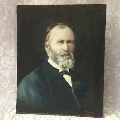 Antique FRENCH MASTER PORTRAIT of a GENTLEMAN 19th Oil Painting on Canvas Signed