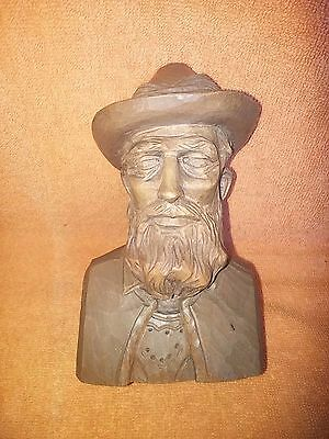 Vintage German Black Forest Style Wood Carving Bust of Man Wearing Hat Germany