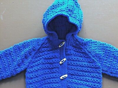 Hand Knitted Baby Cardigan with hood in royal blue.  12-18 Months.