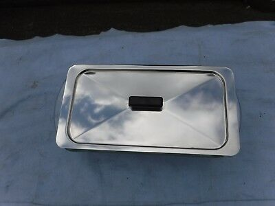 Hostess Trolley Glass Dish with Stainless Steel Lid. Glassbake.  J522.1.1/2Qts.