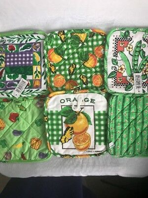 Pot Holders Lot Of Six Green NWT Old Stock