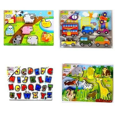 Kids Baby Wooden Wood Animal Puzzle Number Alphabet Learning Educational T VTX