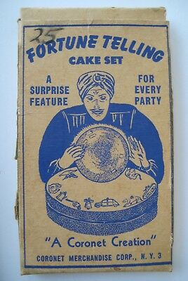 VINTAGE Coronet FORTUNE TELLING CAKE Set w/ Paper, Box & All 50 Charms! Must See