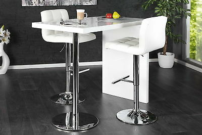 d6f8bbb236a HIGH GLOSS White Breakfast Bar Table Dining Kitchen Stand Steel Modern  Furniture