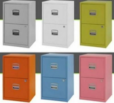 Steel Metal Filing Cabinet 2 Drawer A4 Office Storage Industrial Lockable Home