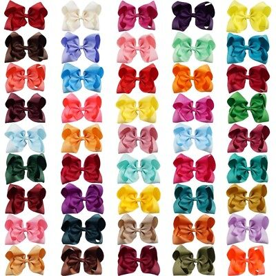 """8"""" Solid Large Hair Bow for Girls Kids Grosgrain Ribbon Jumbo Bow With Clips"""