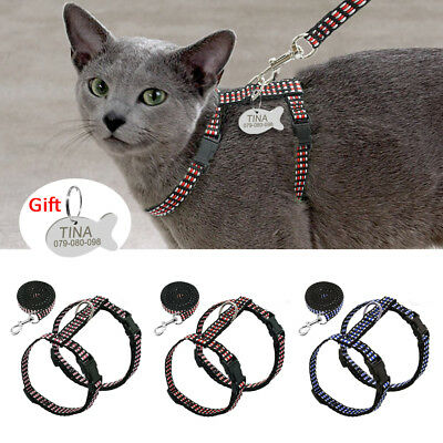 Cat Walking Harness and Leash with Tag Engravd Escape Proof Puppy Kitten Strap