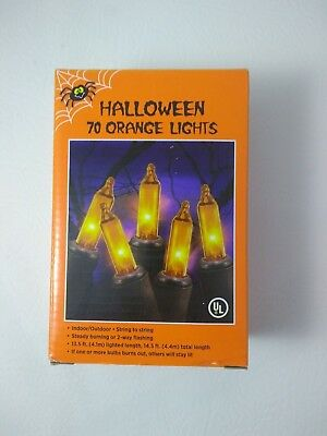 70 Orange Indoor/Outdoor Halloween Lights String 14.5ft (4.4m) Steady or Flash