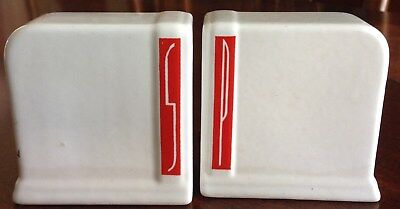 Vintage Art Deco White With Red Stripe Range Set Salt and Pepper Shakers