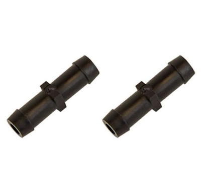 "(2) Two 1/8"" x 1/8"" Hose ID Black HDPE Barbed Plastic Connector Fitting"