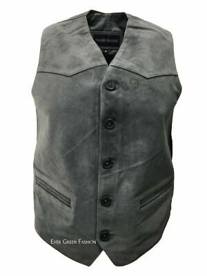 Men's CLASSIC designer Smart Looking Grey Real Soft SUEDE Leather Waistcoat