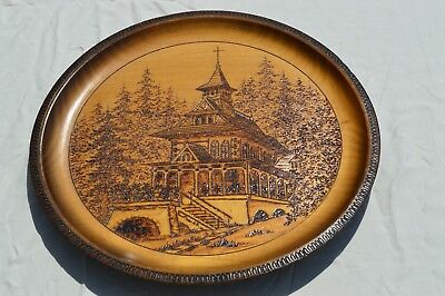 Antique Zakopane Poland Chapel hand-carved wooden plate - large 12.5""