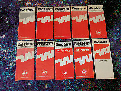 Lot of 1970's Western Airlines Collectible Timetables + System Quick References