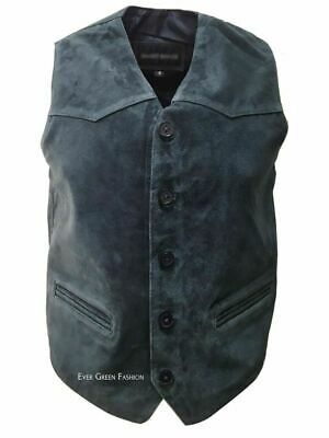 Men's CLASSIC designer Smart Looking Navy Blue Real Soft SUEDE Leather Waistcoat
