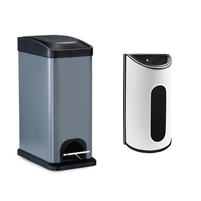 8 Liter / 2.1 Gallon Stainless Steel Trash Can and Grocery Bag Dispenser