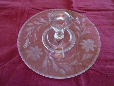 Vintage Etched Glass Dessert Cake Plate with Handle