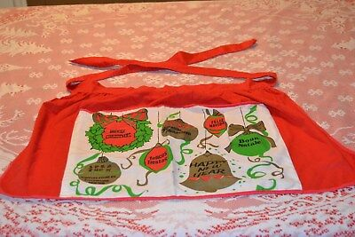 Vintage Christmas Apron ~ Merry Christmas ~ Ornaments red green white