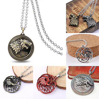 Game of Thrones House Stark Sigil Alloy Metal Pendant Necklace Chain Collections
