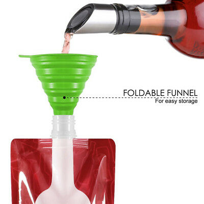 Foldable Collapsible Plastic Wine Bag Flask for Home Travel Camping Outdoor LH