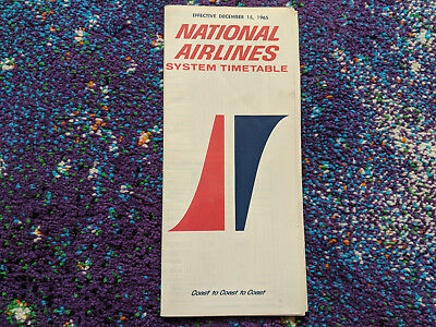 Vintage December 1965 National Airlines Collectible System Timetable Brochure