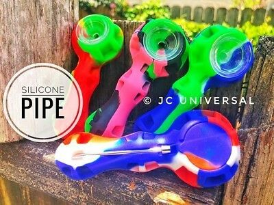 """4"""" Unbreakable Silicone Tobacco Smoking Pipe Hand Holder Glass Bowl In Varied420"""