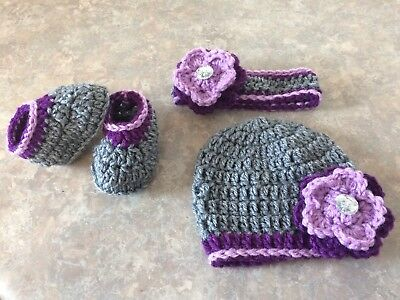 Crochet Hat Headband & Booties Set newborn - 3 month baby Photo Prop Gift Jewels