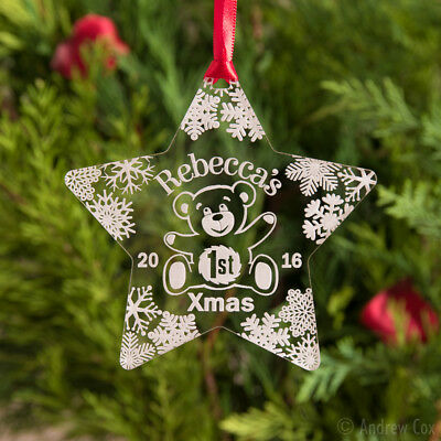 Baby's 1st Christmas Personalised Baubles Star/Teddy First Xmas Decorations Gift