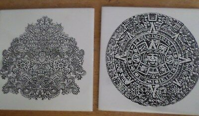 """Lot of 2 Black and White Ceramic Tiles - Mayan Maze 6"""""""