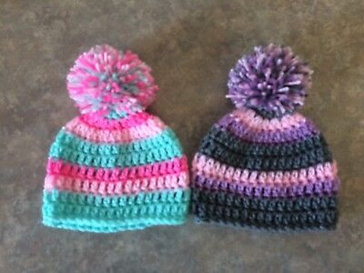 Crochet Newborn - 3 Month Baby Pompom Hat Lot Set 2 Photo Prop Shower Gift Girl