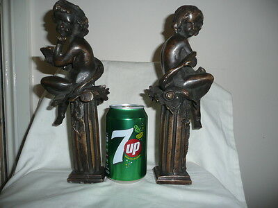 A Pair of Old Art Nouveau Hot Cast Solid Bronze Figures Of Boy&Girl. H27cm.