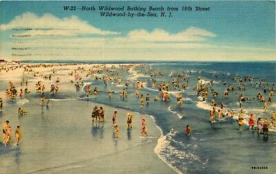New Jersey Postcard: Bathing Beach From 16Th St. Wildwood By The Sea, Nj