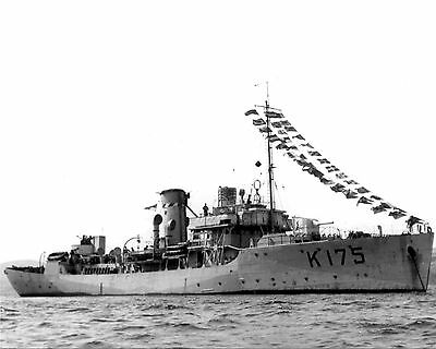 Royal Canadian Navy Corvette Hmcs Wetaskiwin K175 With Stats And History Sheet