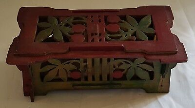 Green & red fretwork word vintage Art Deco antique pencil trinket box