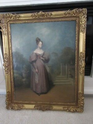 18th Century English  Oil on Canvas Portrait of a Lady In Lord Darnley's Garden